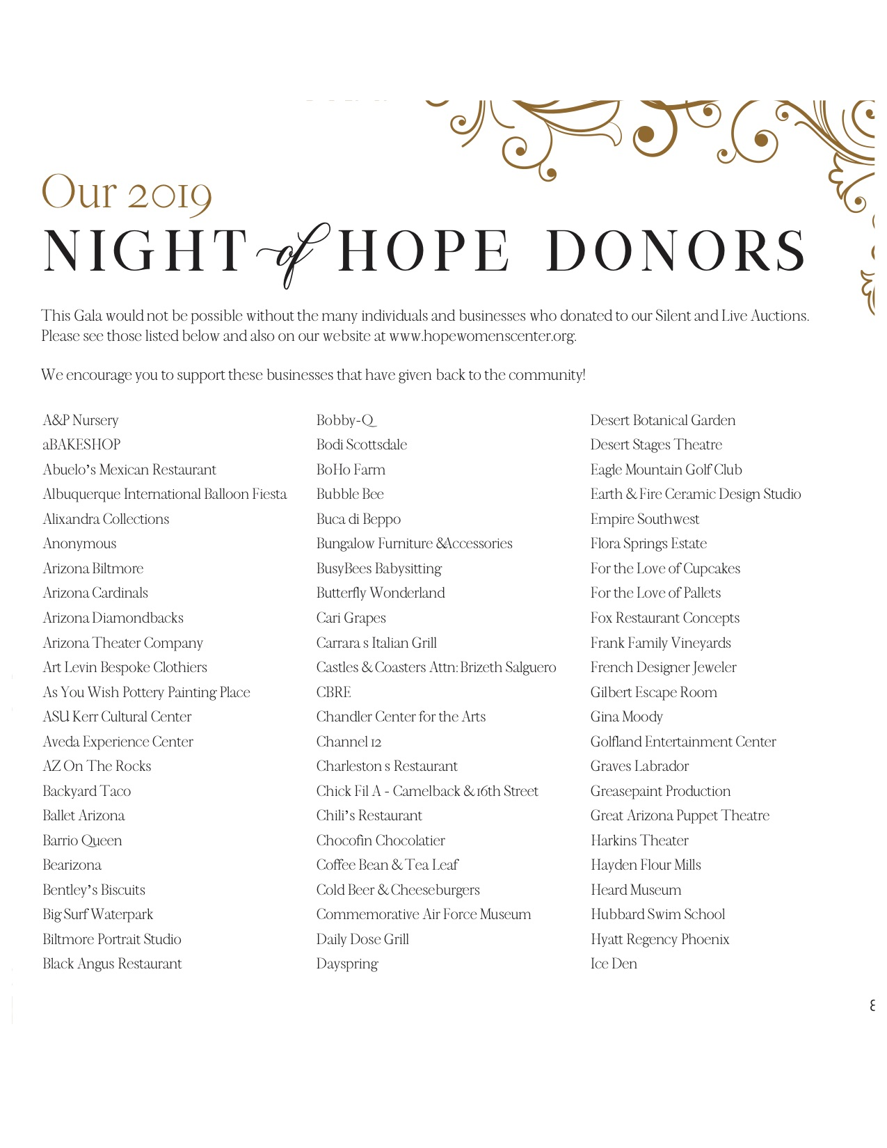 NOH Auction Donors 2019